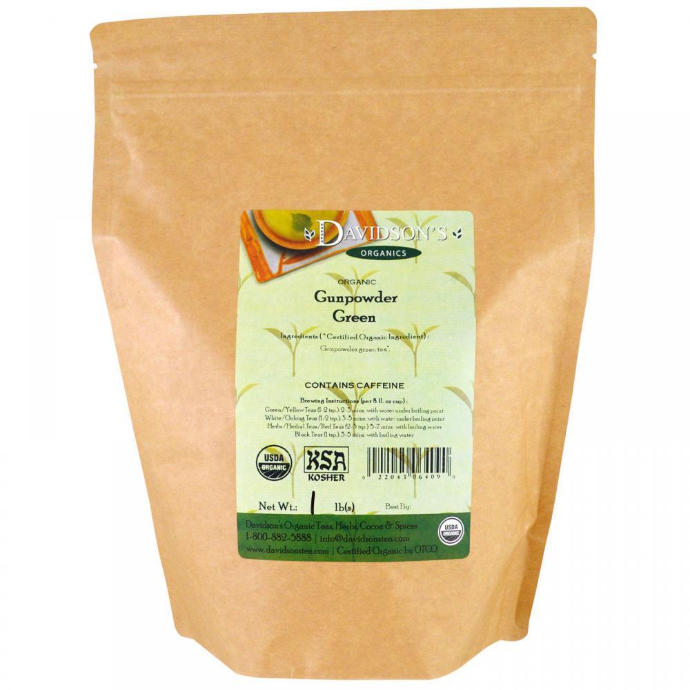 Organic gunpowder green tea (zhu cha).